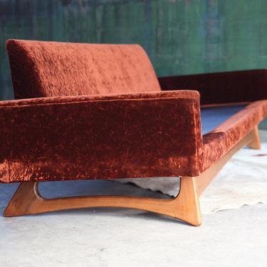 "JAWDROPPING ORIGINAL! 8' ft Mid Century Adrian Pearsall Walnut 'Gondola"" Sofa Model 2408 Craft Associates w/ Custom pillow Upholstery choice by CatchMyDriftVintage"