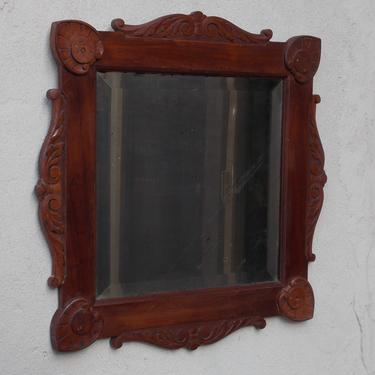 Antique Carved Wood Square Beveled Wall Mirror by ilikemikes