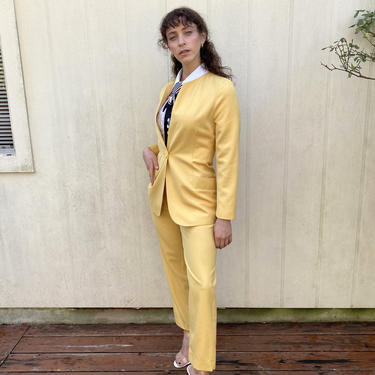 Vintage 90s Escada Yellow High waist Power pants Blazer Jacket set Suit S M by prismavintageatx