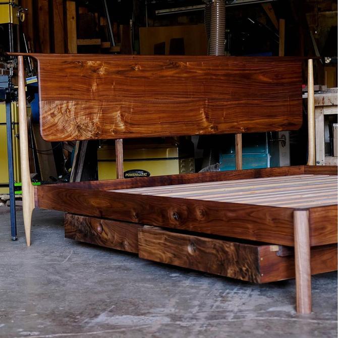 Walnut Modern Platform Bed, Handmade Mid Century Wood Storage Bed, Bedframe with Headboard, King Queen Full or Twin by BeautyBreadWoodshop