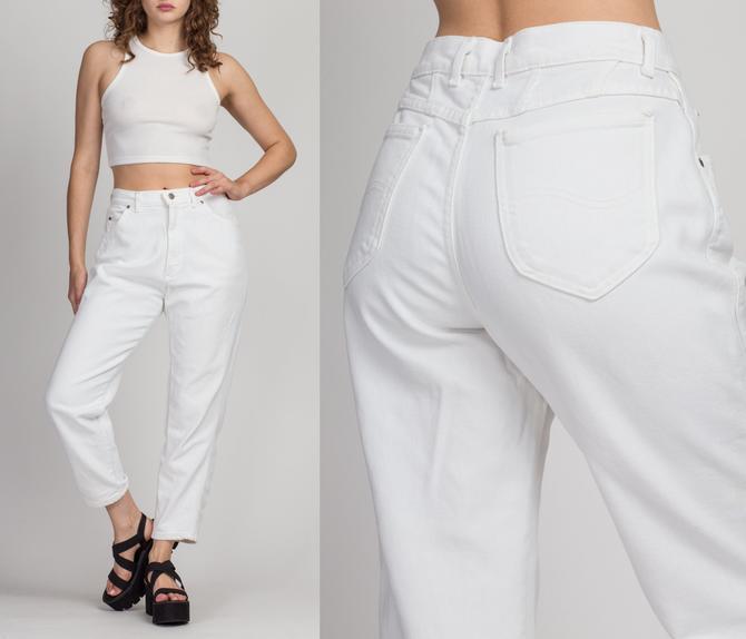 "Vintage Lee Riders White Denim High Waist Jeans - Medium, 29""   80s 90s Tapered Leg Mom Jeans by FlyingAppleVintage"