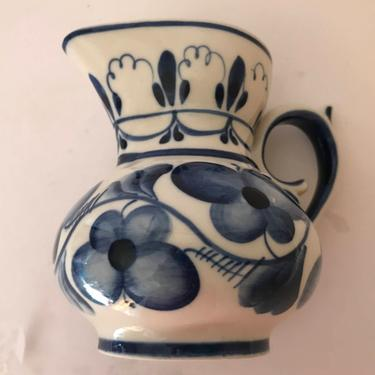"""Vintage  Blue and White Hand Made Gzhel in Russia USSR Creamer -4""""-Nice Condition by JoAnntiques"""