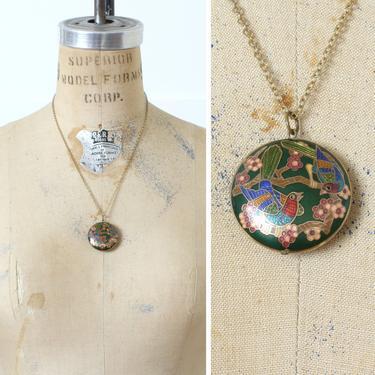 vintage cloisonné bird necklace • round green medallion enamel pendant • bohemian birds by LivingThreadsVintage