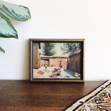 Vintage Oil Painting - Women in Village by TheDistilleryVintage