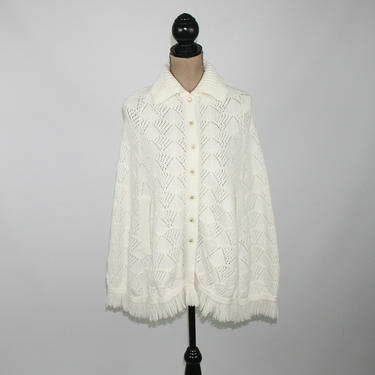 70s White Pointelle Poncho with Fringe, Acrylic Knit Sweater Cape, Collared Button Up, 1970s Clothes Women, Vintage Clothing from Sears by MagpieandOtis