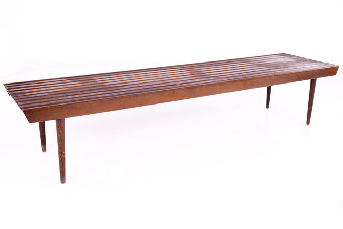 George Nelson for Herman Miller Style Mid Century Walnut Slat Bench - mcm by ModernHill