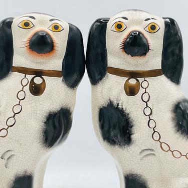 "Vintage Large Staffordshire Style SPANIEL DOG FIGURINE Porcelain Black & White Crackle Finish- 12"" by JoAnntiques"
