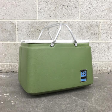 Vintage Cooler Retro 1960s Sears, Roebuck and Co + Avocado Green + Ice Box + Insulated + 30 Quart Capacity + Storage + Portable + Outdoors by RetrospectVintage215