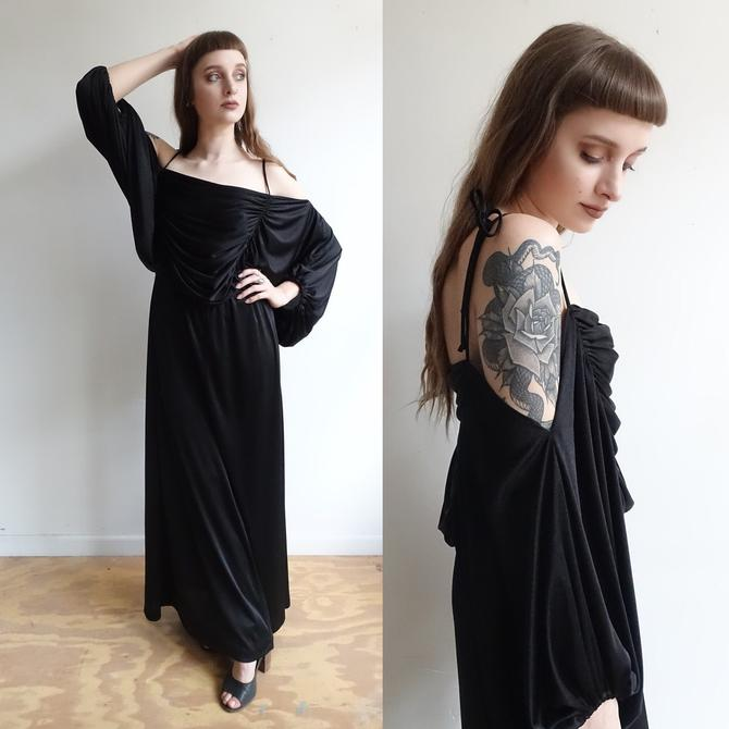 Vintage 70s does 30s Black Grecian Draped Gown/ 1970s Balloon Sleeve Off the Shoulder Maxi Dress/ 1930s style/ Medium by bottleofbread