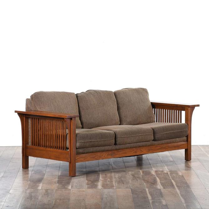 California Craftsman Sofa W Chevron Upholstery