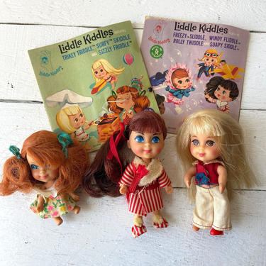Vintage Little Kiddles, Set of 3 // Trikey Triddle, Just Doll With Book // Soapy Siddle, Just Doll With Book // Lola Liddle No Hat Or Shoe by CuriouslyCuratedShop