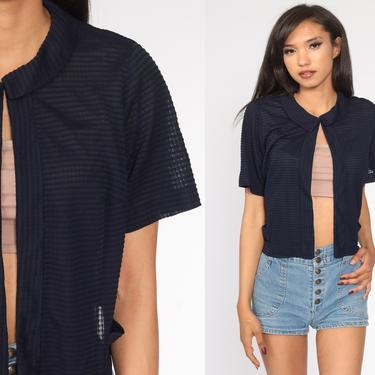 60s Open Front Top Navy Blue Blouse Bohemian Jacket Striped Shirt OPEN FRONT Vintage Boho Hippie Festival 70s Short Sleeve Medium Large by ShopExile