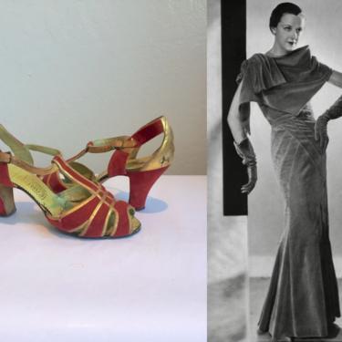 The Velvet Touch - Vintage 1930s Red Velvet & Gold Leather Evening Dress Heels - 6 1/2 by RoadsLessTravelled2