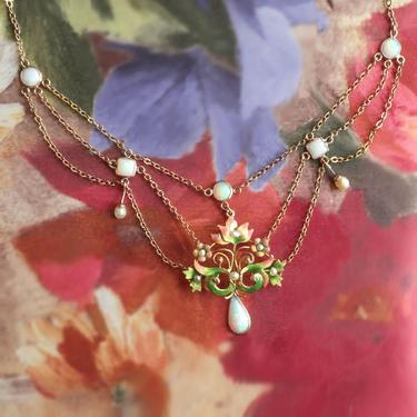 NOT FOR SALE--Installment Payment 2of5 Due 9/14----Vintage Opal, Pearl and Enamel Festoon Necklace 15 Inches 10k Gold by YourJewelryFinder