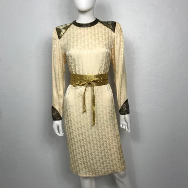 Vtg 80s cream silk sequined Art Deco inspired dress SM by AnimalVintageMiami
