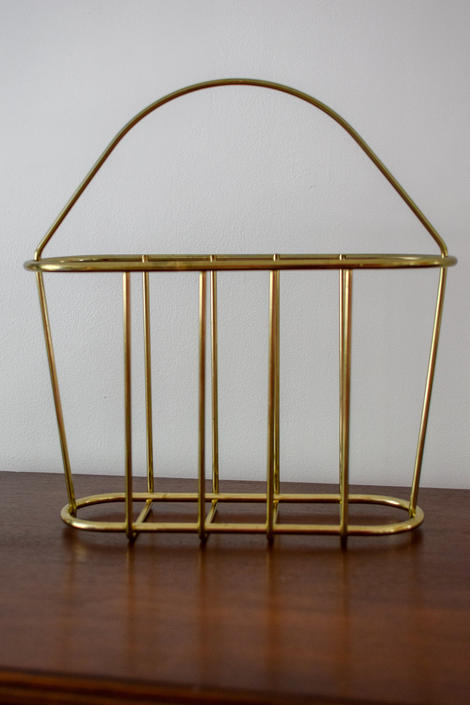Mid Century Brass Plated Magazine Stand/ Rack by CapitolVintageCharm
