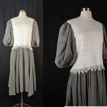 Vintage Eighties Gray and White Lace Bodice Dress - Large 80s Dress with Puffy Sleeves Full Skirt Princess Sleeves by JanetandJaneVintage
