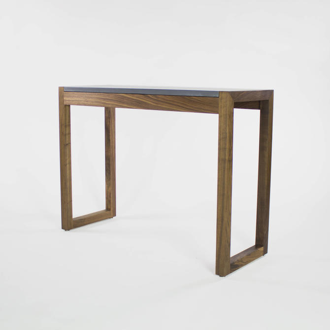 George Concrete and Walnut Writing Desk by CrumpandKwash