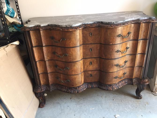 SOLD - French Carved 4 drawer chest with marble top