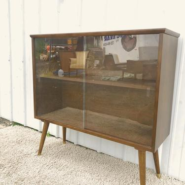 Mid Century Display Cabinet with Glass Doors