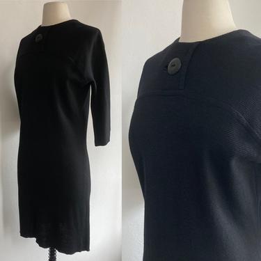 Vintage 60s RIBBED KNIT MOD Dress / Big Button / Minimalist / Pantel Montreal by CharmVintageBoutique