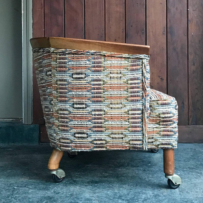 Vintage Erwin Lambeth Slipper Chair on Caster Walnut Tomlinson Mid-Century Mad Men Wheel Petite Boho Bohemian Woven Fabric by BrainWashington