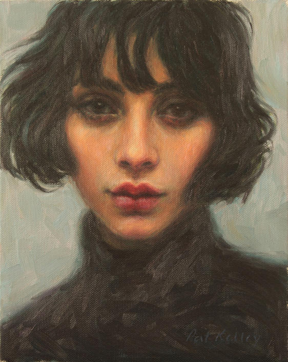 Original Portrait Painting by Pat Kelley. The French Girl. Oil on Canvas. Fashion Art, Beautiful Woman, Beatnik, Vintage Look, Fine Art by PatKelleyStudio