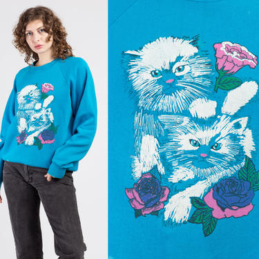 80s Cats & Roses Sweatshirt - Extra Large   Vintage Blue Slouchy Animal Graphic Pullover by FlyingAppleVintage