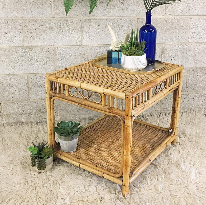LOCAL PICKUP ONLY ----------- Vintage Rattan End Table by RetrospectVintage215