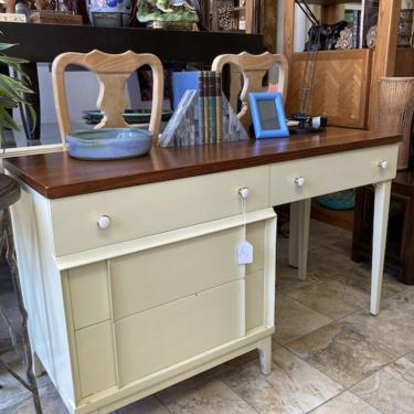 Click Clack   Mid-century Desk with Vanity and Walnut Finish