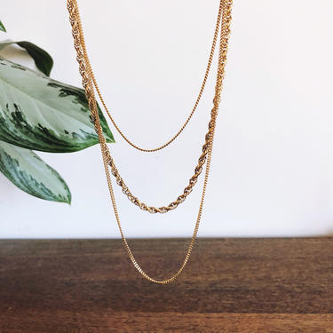 Vintage Monet Gold Multi-Chain Necklace by TheDistilleryVintage