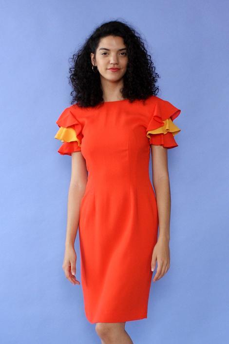 Flamenco Ruffle Sleeve Dress M