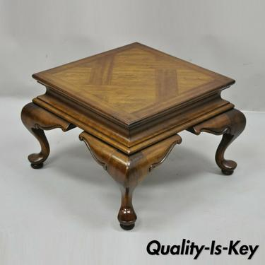 Vintage English Queen Anne Style Low Parquetry Inlay Pedestal Stand Side Table