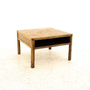 McGuire Mid Century Bamboo & Burled Laminate Side End Table - mcm by ModernHill