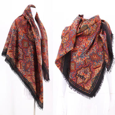 70s LIBERTY huge wool scarf shawl / vintage 1970s Liberty London paisley fringed wrap 52 x 52 by ritualvintage