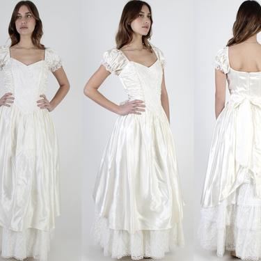 Gunne Sax Ivory Satin Maxi Dress / Elastic Shoulder Long Full Skirt Dress / 80s Lace Sequin Bridal Wedding Gown / Sweetheart Prom Dress by americanarchive