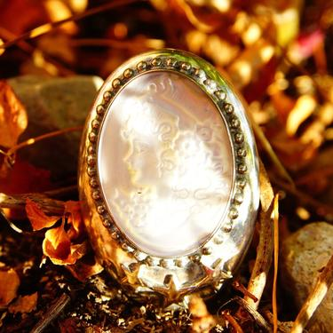 """Vintage Sterling Silver & Mother Of Pearl Cameo Pendant/Brooch, Embossed Silver Stars, Iridescent Shell Cameo Of Young Girl, 1 3/4"""" L by shopGoodsVintage"""