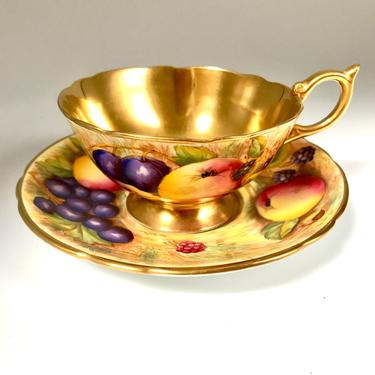 Vintage Aynsley Gold Orchard Teacup Saucer Set, Signed Hand-Painted N. Brunt Design c 1939, Gilded English Bone China by RanchQueenVintage
