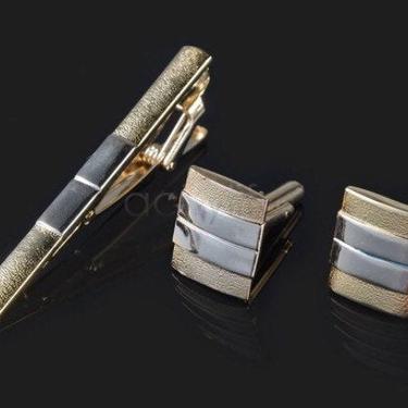 Tie Clip + Cufflinks Gold Boyfriend Gift Men's Gift Anniversary Gift for Men Husband Gift Wedding Gift For Him Groomsmen Gift for Friend Him by LookGreatWL