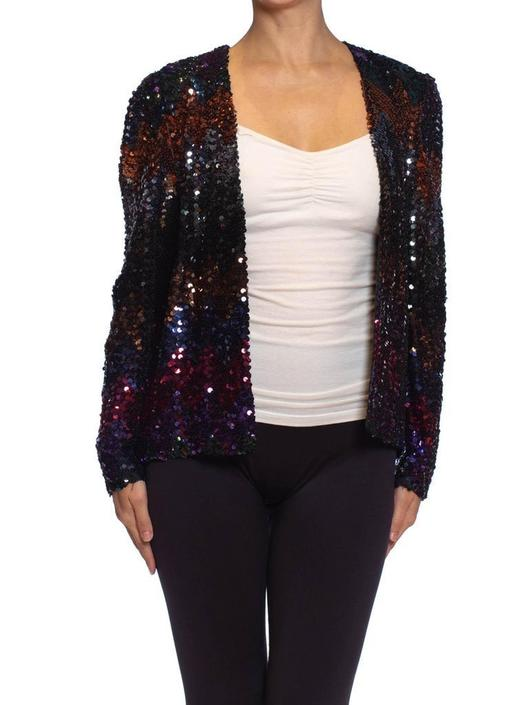 1970S Jeweltone Sequined Polyester Disco Jacket by SHOPMORPHEW