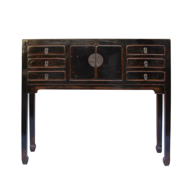 Chinese Oriental Rustic Black Lacquer Drawers Side Table cs5356S
