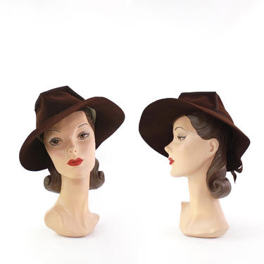 1940s Coffee Brown Fedora - 1940s Womens Fedora - 1940s Fedora - Womens Brown Fedora - Vintage Brown Fedora - 40s Womens Hat - 40s Brown Hat by VeraciousVintageCo