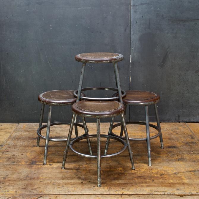 Set Four Steel Industrial Stools Adjustable Height Vintage Mid-Century Art School by BrainWashington