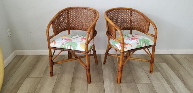 Vintage Coastal Palm Beach Style Bamboo and Rattan Barrel Back Accent Chairs a Pair . by MIAMIVINTAGEDECOR