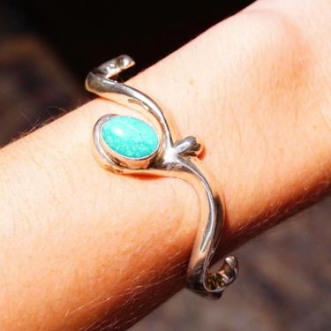 Vintage Sand Cast Sterling Silver Turquoise Cuff Bracelet, Elegant Silver Scroll Cuff With Accent Turquoise Setting, Marked Sterling F by shopGoodsVintage