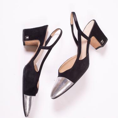 CHANEL Black + Silver Two Tone Suede Slingback Pumps 38 7.5 Metallic CC Logo Monogram Heels by backroomclothing