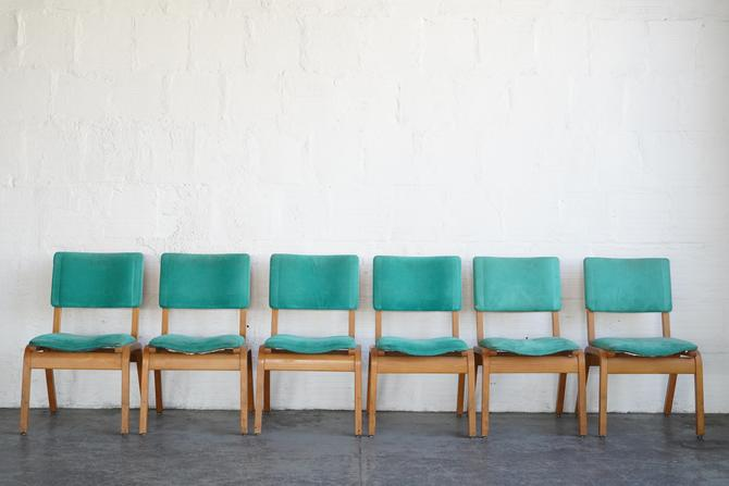 Green Suede Chairs (Set of Six)
