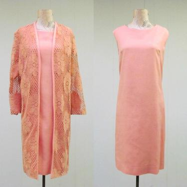 """Vintage 1960s Peach Linen Cut-Out Lace Dress and Coat Set, 60s Edith Flagg Sleeveless Shift w/Matching Jacket, Medium 40"""" Bust by RanchQueenVintage"""