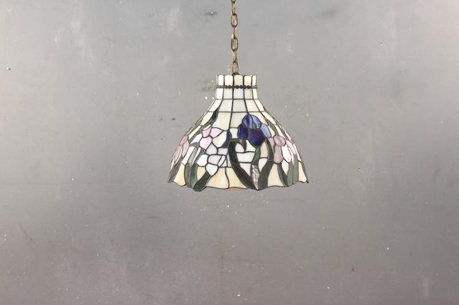 Tiffany-Style Violets Stained Glass Swag Lamp – ONLINE ONLY