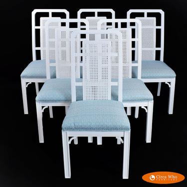 Set of 6 Hollywood Regency Fretwork Dining Chairs